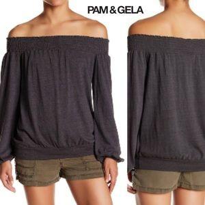 PAM & GELA Black Long Sleeve Off Shoulder Blouse